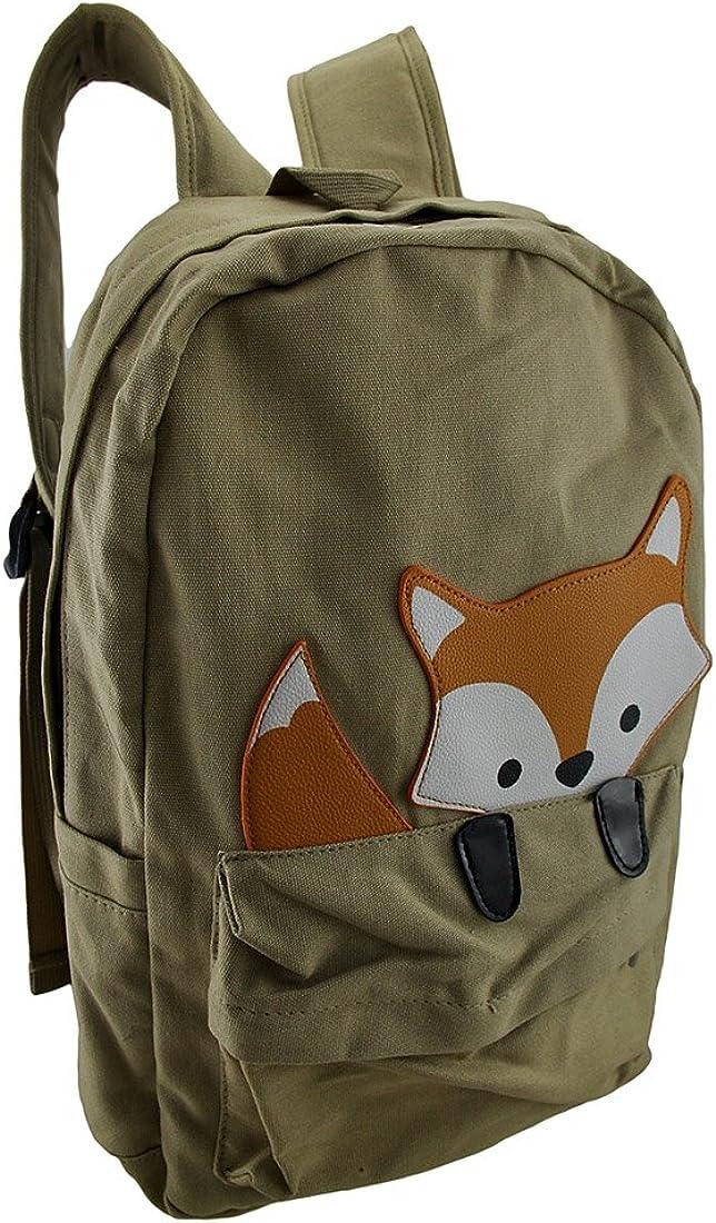 Sleepyville Critters Baby Peeking Fox Khaki Cotton Canvas Backpack