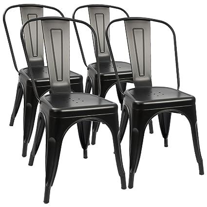 amazon com furmax metal dining chair indoor outdoor use stackable