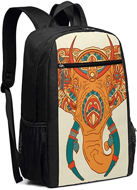 Indian Style Ornament with Elephants and Paisleys Travel Laptop Backpack Casual Durable Backpack Daypacks for Men Women for Work Office College Students Business Travel Schoolbag Bookbag