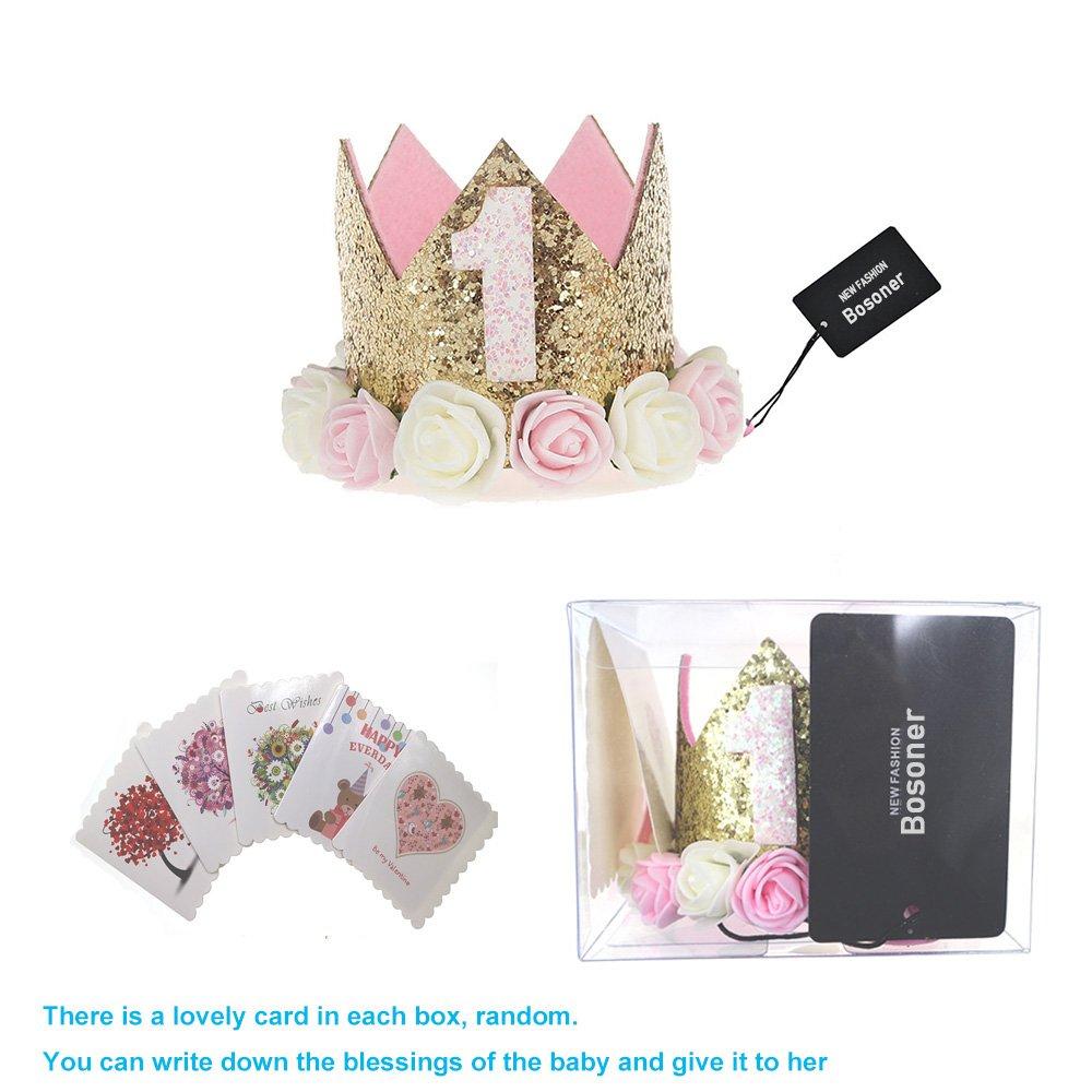 Bosoner Baby Princess Crown 1 Tiara Kids First Birthday Hat Sparkle Gold Flower Design 1st