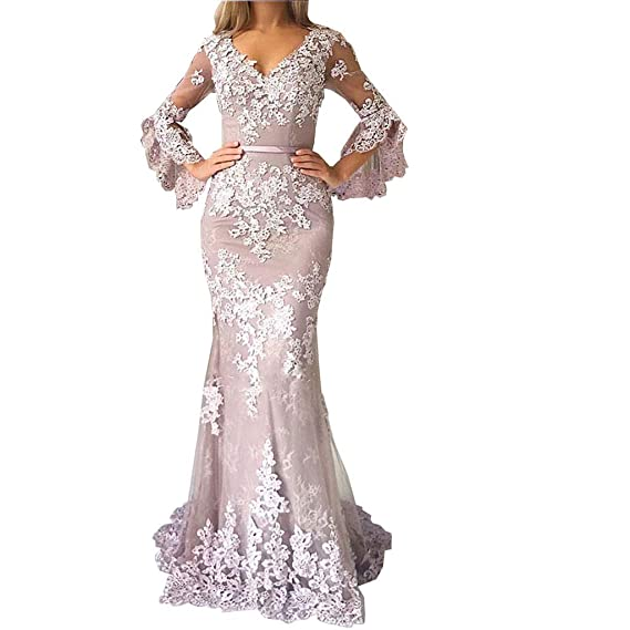 31b16ddd628719 Special Bridal V-Neck Lace Mermaid Evening Dresses Sweep Train Trumpet  Sleeve 2019 Prom Dresses
