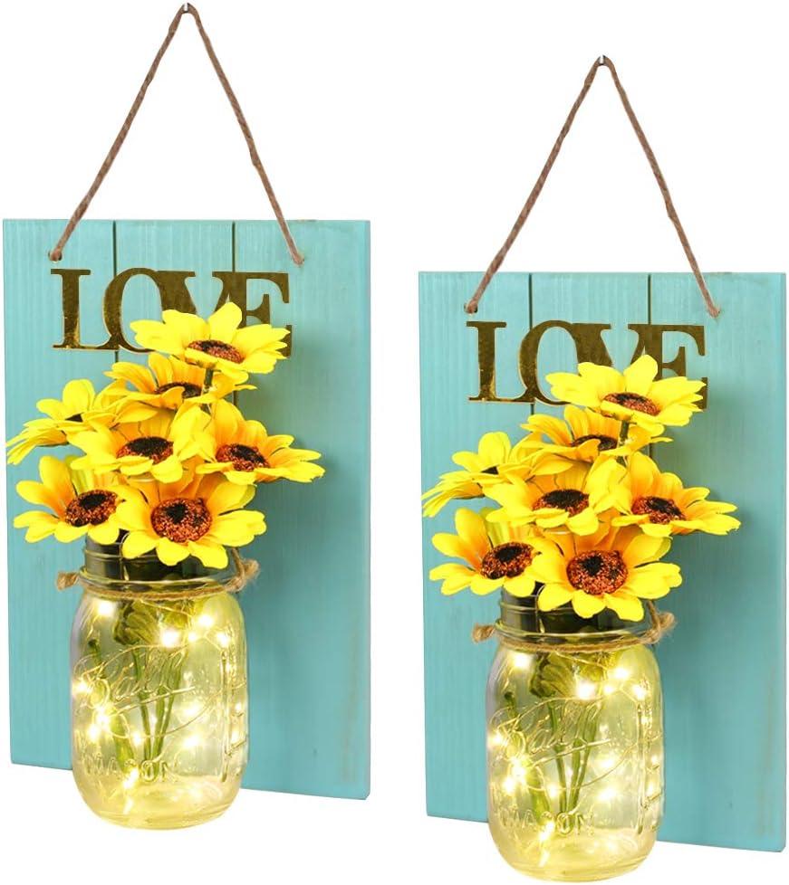 Teal Wall Decor, FineUsea Set of 2 Sunflowers Mason Jar Lights Wall Wood, LOVE Theme Art Sconces Artificial Flowers LED Fairy Lights for Country House Office Kids' Room Décor