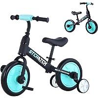 Yealeo 4 en 1 Bicicletas Infantil con Extraíble Ruedas de Apoyo y Pedales, para Niños y Niñas de 2, 3, 4 y 5 años, Azul