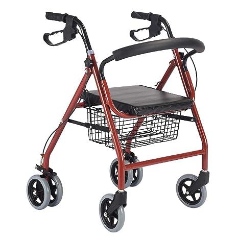 FKDErollator 6 Ruedas de Ayuda de Movilidad Plegable, Andador, Andador, Carrito de Compras