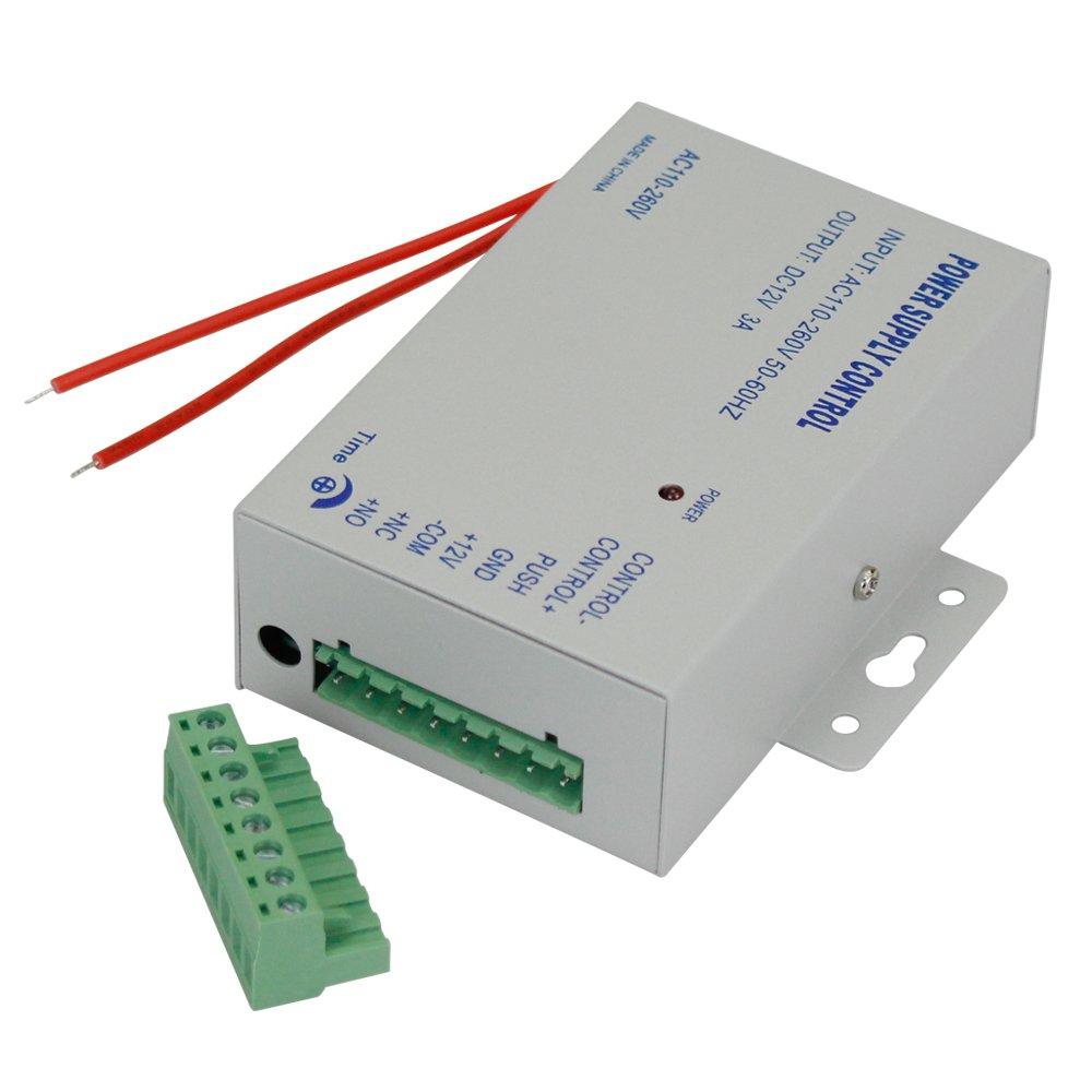 Salida 110-260VAC Voltaje de Entrada con Tiempo de retardo para Todo Tipo de Bloqueo electr/ónico K80 Control de Acceso de Metal Controlador de Fuente de Alimentaci/ón DC12V//3A