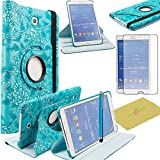 """Tab 4 8.0 Case, Samsung Tab 4 8 inch case, Fulland Case for Samsung Galaxy Tab4 8.0"""" T330 Tab 4 PU Leather 360 Rotating Stand Cover with Screen Protector+ Stylus-Flower Blue"""