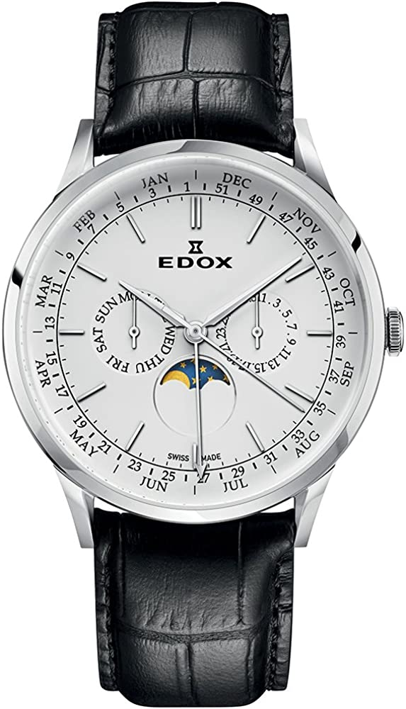 EDOX Reloj Analogico para Hombre de Cuarzo con Correa en Cuero 40101-3C-AIN