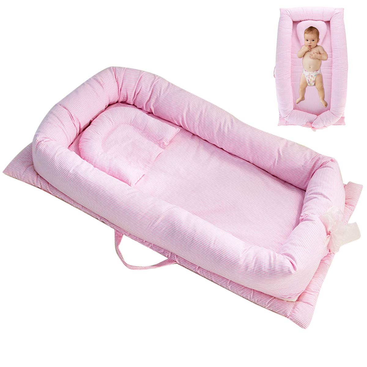 Yinuoday Baby Lounger Portable Baby Bed Cosleeper Bassinet Infant Sleeper Baby Crib Nursery Travel Folding Baby Bed Bag for 0-12 Month Baby