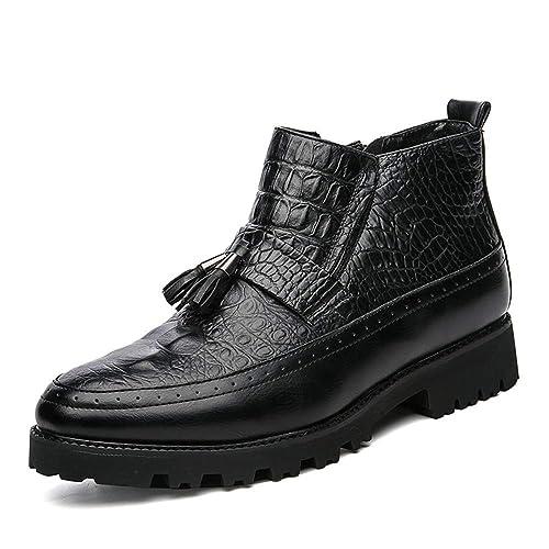 CHENJUAN Zapatos Moda para Hombre Botines de Trabajo Botas Casual Personalidad Cocodrilo Borla clásica Botas Altas: Amazon.es: Zapatos y complementos
