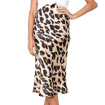 Bibao falda de fiesta con estampado de leopardo y cintura alta ...