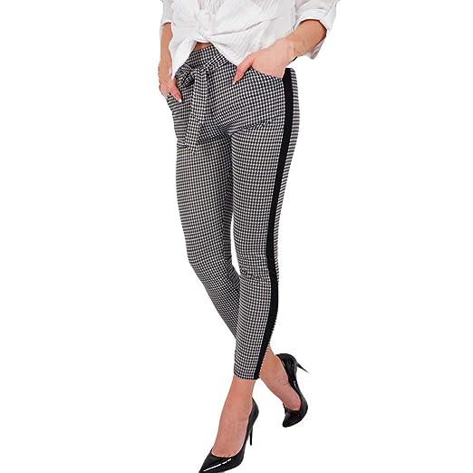 d39f3ada Amazon.com: Women Work Dress Pants, JOYFEEL Ladies Casual Plaid Side ...
