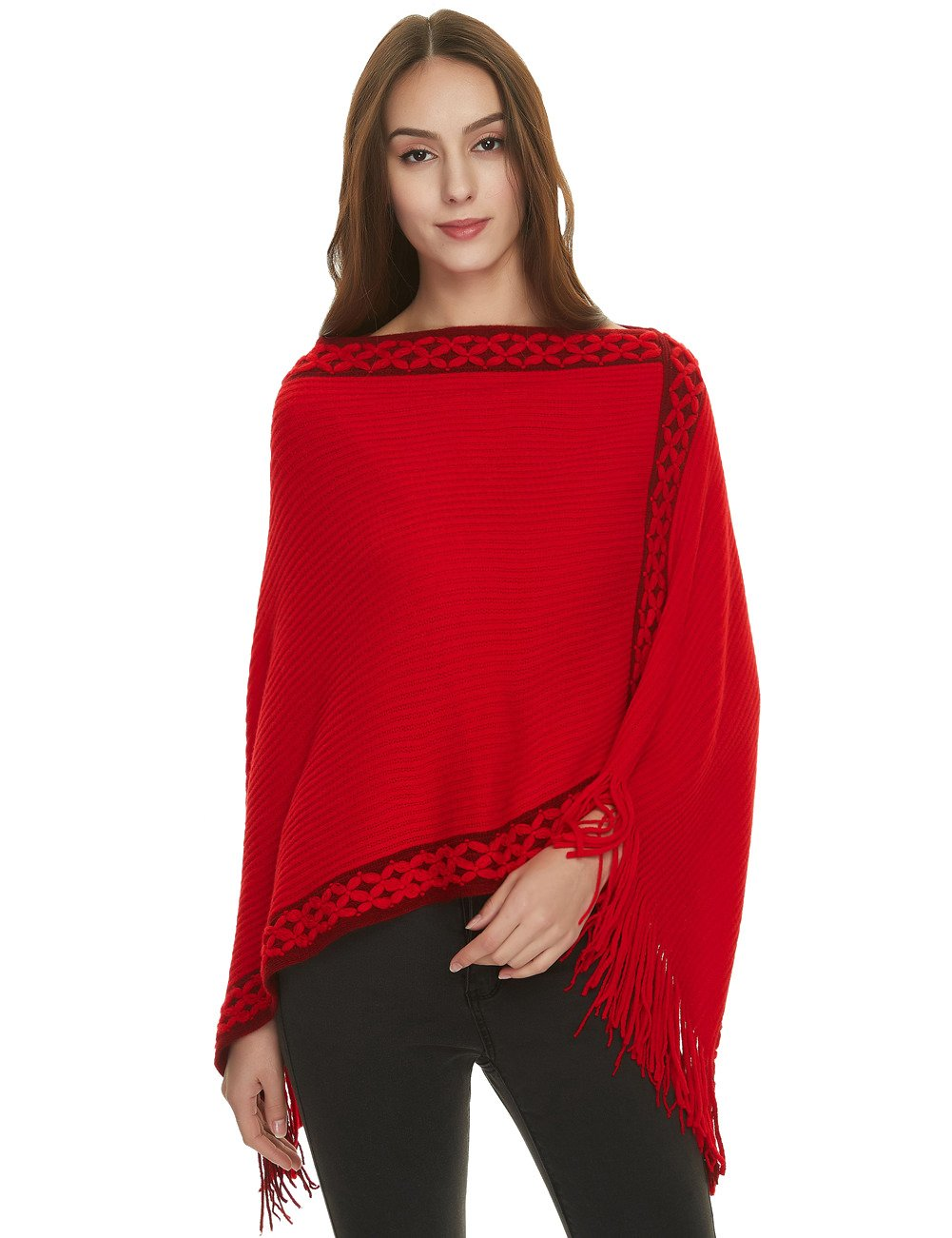 Ferand Women's Crisscross Embroidered Poncho Sweater Stylish Fringe Cape Shawl Black