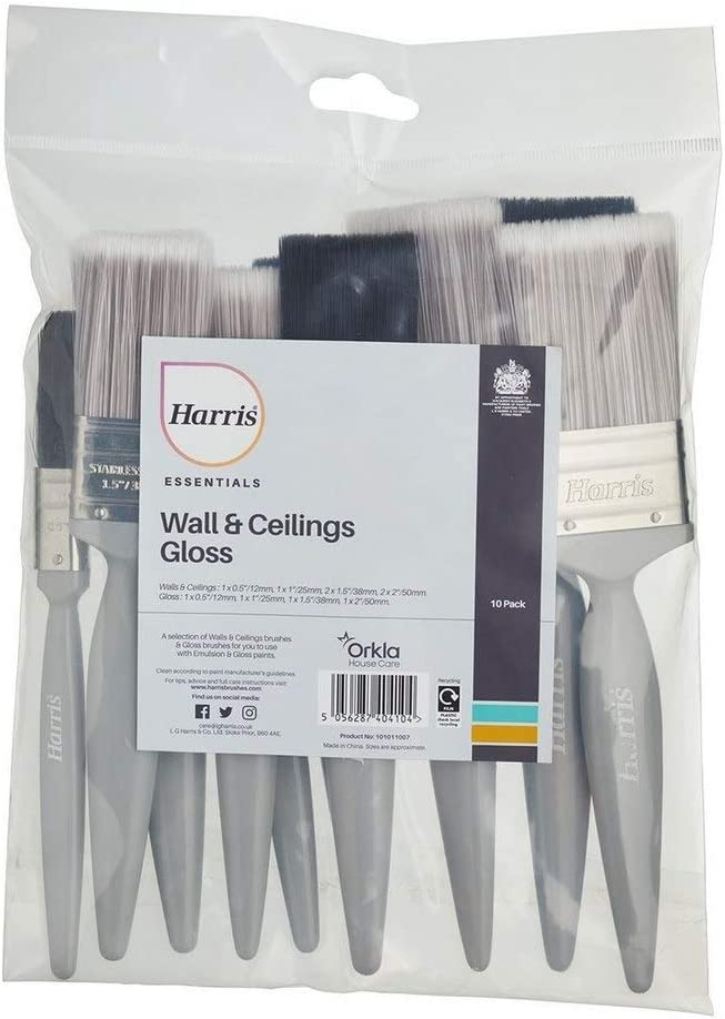 1 x 0,5 Harris 101011007 Woodwork /& Gloss Essentials Wand- und Decken- und Holzbearbeitungs-Pinsel 1 x 1,5 1 x 2 1 x 1 2 x 1,5 2 x 2 Emulsion 10 St/ück