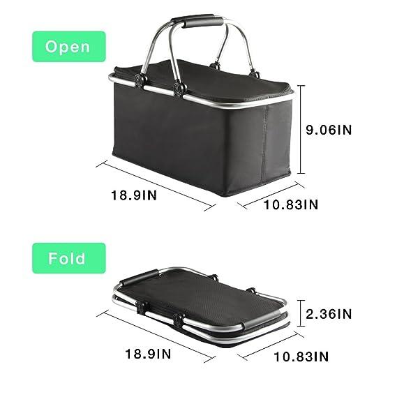 150f76777e955 Panier de pique-nique pliable carry-bag Boîte à lunch isolée pliante, cabas  pour courses ou camping Shopping Sac ...