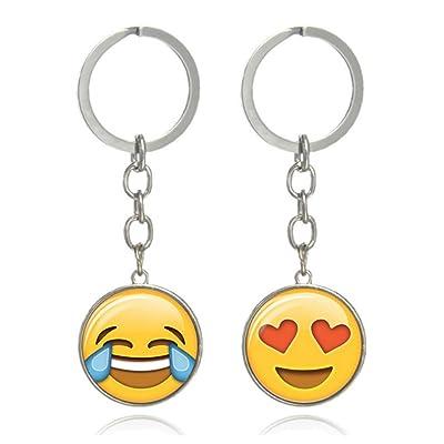 freessom 2pcs porte cl clef homme femme emoji jaune anneau personnalis metal pendentif. Black Bedroom Furniture Sets. Home Design Ideas