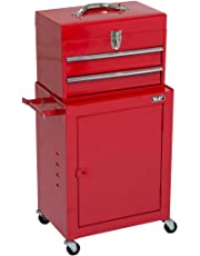 Wolf Handyman Tool Storage Set 2 Drawer Toolbox Top Chest and Cabinet Combination Rollcab on Wheels