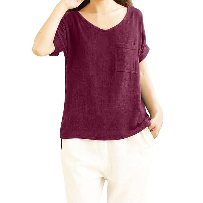 ALIKEEY La Mujer De Manga Corta Camiseta De Algodón Lino Bolsillo Ligero Top Damas Blusa Cuello