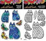 Stampendous Laurel Burch Cling Stamp and Die - Indigo Cats - 2 Item Bundle