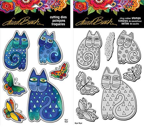 Stampendous Laurel Burch Cling Stamp and Die - Indigo Cats - 2 Item Bundle by STAMPENDOUS