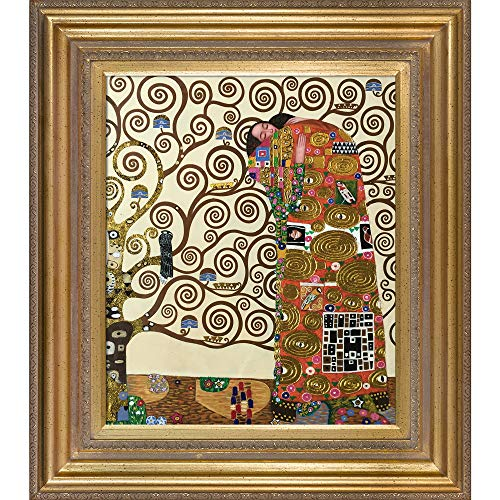 La Pastiche The Embrace Metallic Embellished Artwork By Gustav Klimt With Gold Mother Of Pearl - Monet Of Mother Pearl