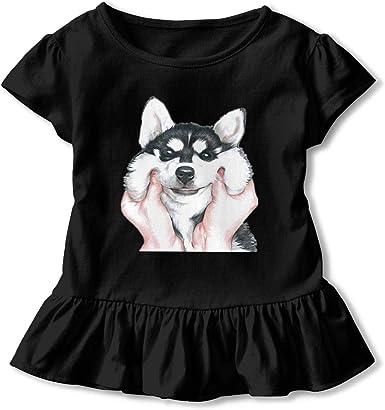 I Love My Shiba Inu Toddler Girls T Shirt Kids Cotton Short Sleeve Ruffle Tee