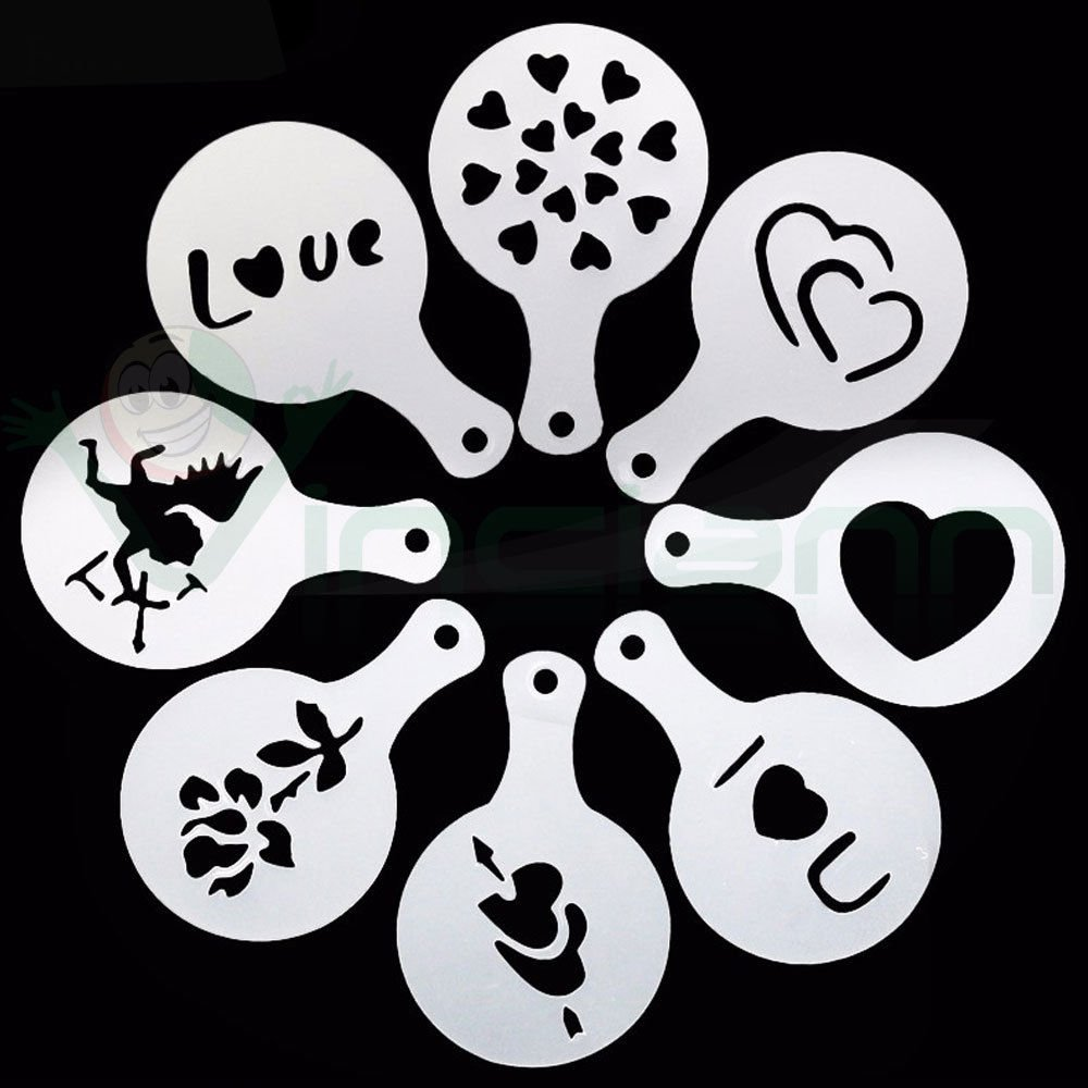 Set 8 stencil Love mascherine decorazione tazza caff/è cappuccino latte cupcake
