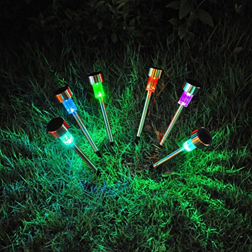 Wingbind 10pcs LED Powered Solar Lights,Stainless Steel Waterproof Plug Solar Pathway Light, Outdoor In-Ground Lights for Garden(Colorful Light) Lawn/Patio/Walkway/Driveway
