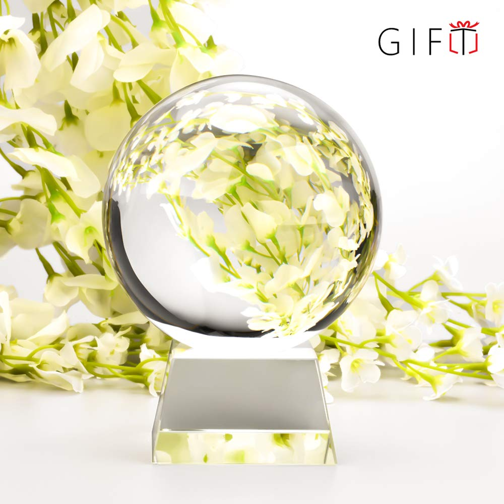 MerryNine Professional Crystal Ball Photograph, K9 Crystal Suncatchers Ball with Gift Box, Decorative and Photography Accessory (110mm, K9, with Crystal Stand)