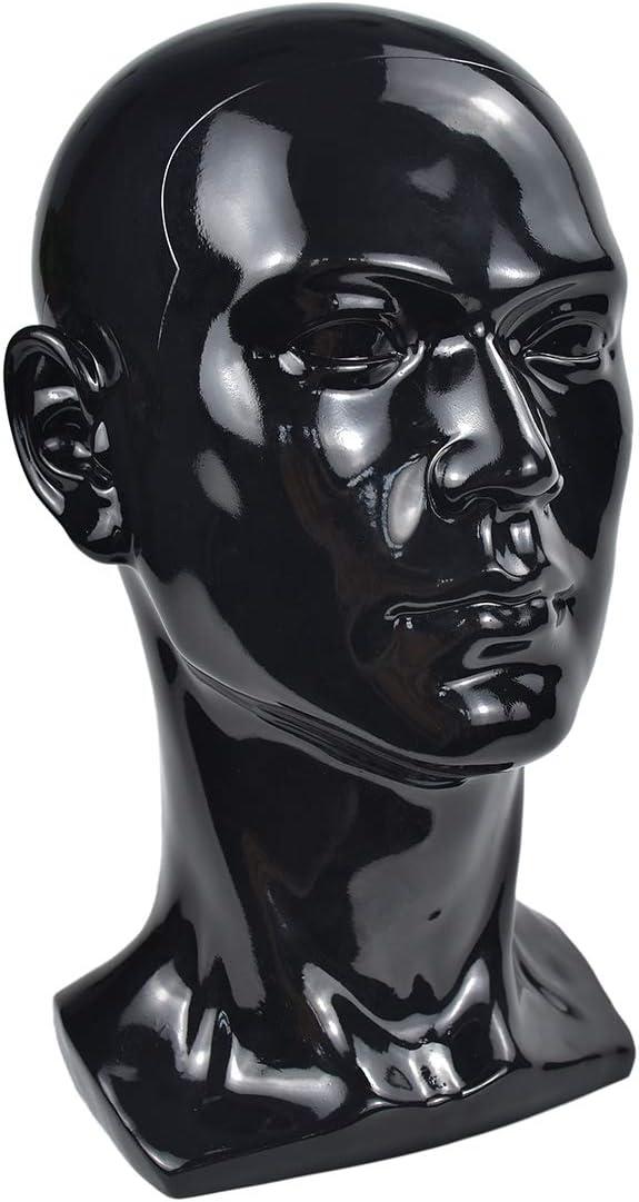 Men Mannequins Head Dummy Realistic Male Wig Mannequin Dummy Head For Hat Sunglass Display Manikin Head Bright black