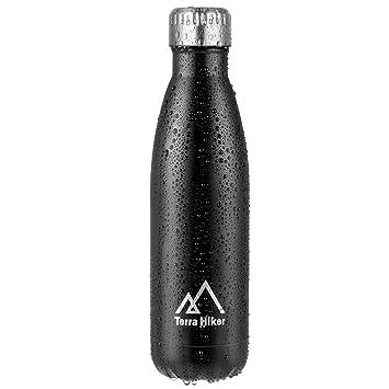 Botella de Agua 500 ml, Terra Hiker Botella Térmica, Acero Inoxidable, sin BPA