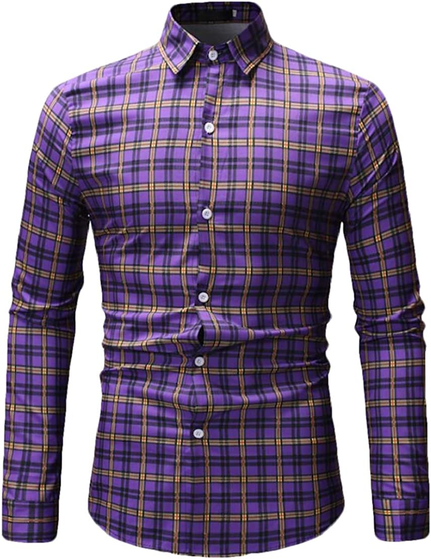 Domple Mens Plaid Buttons Casual Business Long Sleeve Dress Shirts