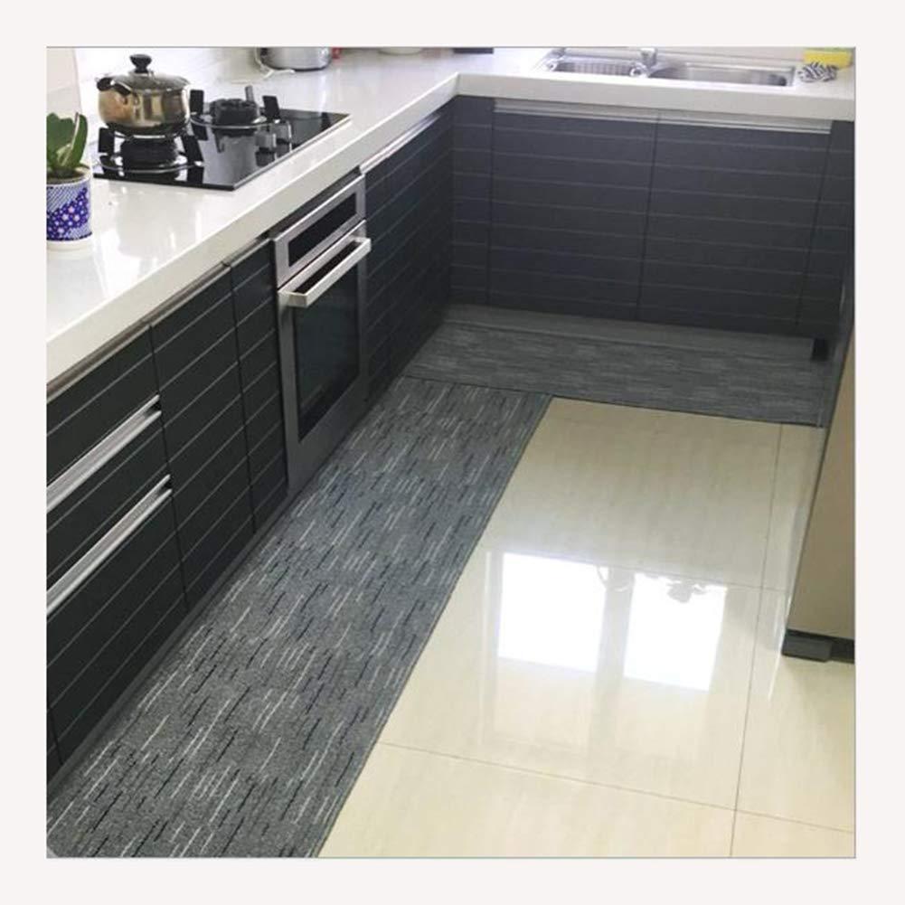 GHGMM Simple Wood Floor Mat, Doorway Kitchen Living Room Balcony Bedroom Carpet, Waterproof Non-Slip Mat, Do Not Fade No Lint TPE,Gray,50100Cm