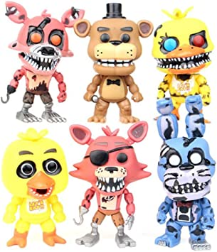 Yangzou Five Nights At FreddyS Nightmare Freddy Chica Bonnie Foxy FNAF Toys 6 Unids / Set 12 Cm PVC Figura De Acción Modelo Muñeca Fazbear Bear Puppet: Amazon.es: Juguetes y juegos