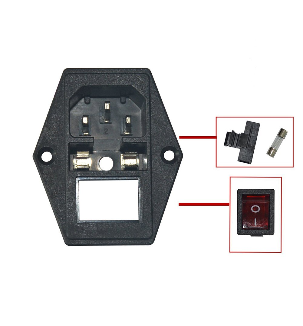 1PCS Power Socket Inlet Module Plug 5A Fuse Switch with 5Pcs ... on
