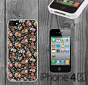 Vintage Embroidery Floral Custom made Case/Cover/Skin FOR iPhone 4/4s -White- Rubber Case (Ship From CA) by mcsharks