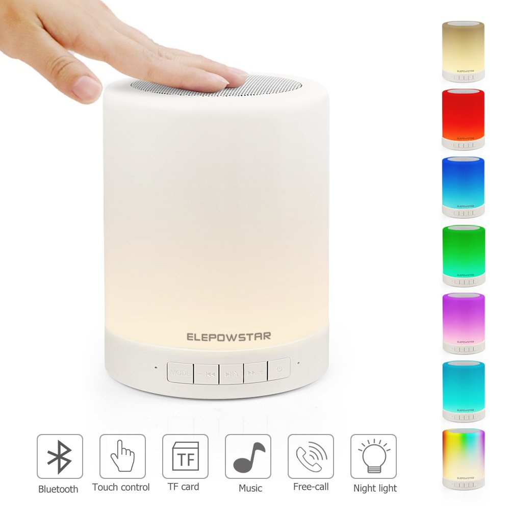 Bluetooth Music Speaker,Portable Dimmable Smart Touch LED Night Light Muisc Player/Hands-free with TF Card and USB Charging,3 Lever Brightness,7 Color Changing ELEPOWSTAR