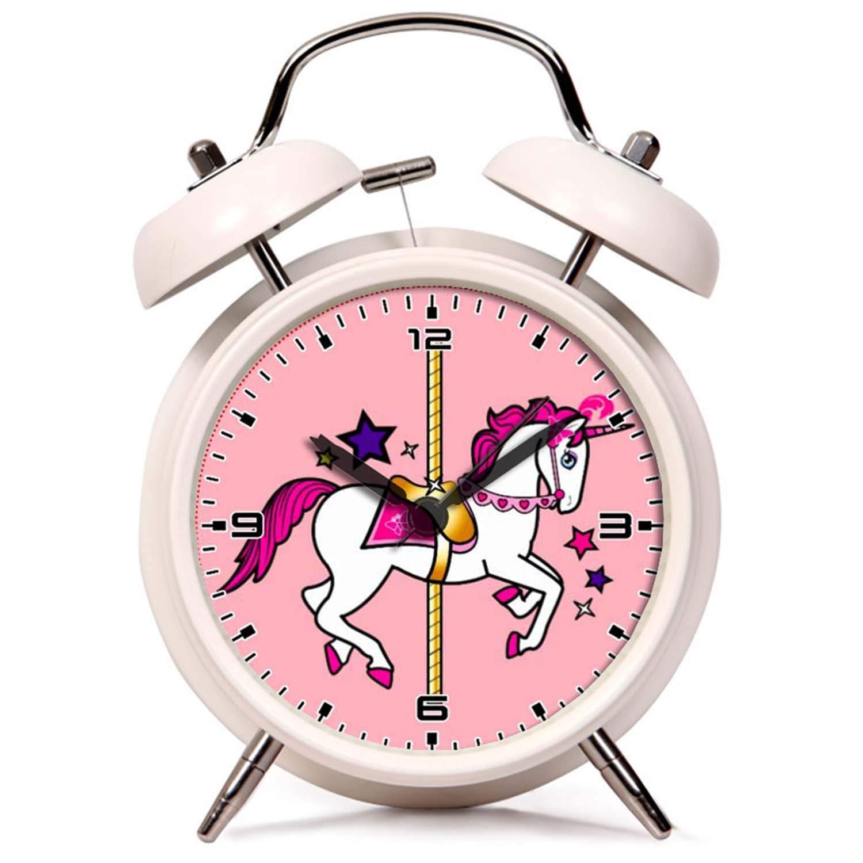 GIRLSIGHT R/éveil Twin Bell Mute R/éveil Horloge de Chevet et de Bureau avec veilleuse Licorne de carrousel lhorloge Blanc