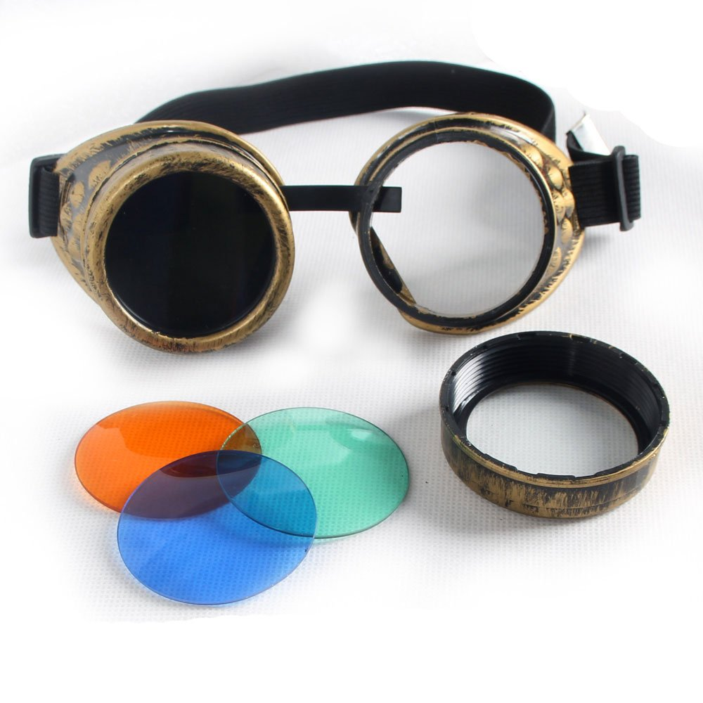 100% New ABS Costume Props Cosplay Equipment Vintage Steampunk Goggles Glasses Welding Cyber Punk Gothic