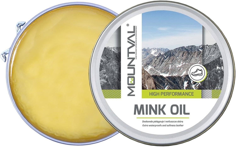 Mountval, El aceite de visón, aceite de calidad para zapatos, nutre a prueba de agua y protege los zapatos para exteriores hechos de cuero, Transparente (Neutral), 100.00 ml