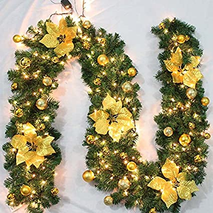 Tronzo 2.7M Green Christmas Garland With Warm Yellow Light DIY Xmas Ornament Christmas Decoration For Home Party Supplies,Deep Sapphire