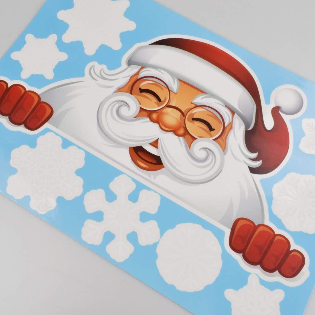 heekpek No/ëL Autocollants Fenetre No/ëL Stickers D/écoration avec Mignon Elan et P/ère No/ël Autocollant Flocon DIY Fen/êtres Stickers Autocollant Recyclable et Enlev/é Autocollants de Fen/être
