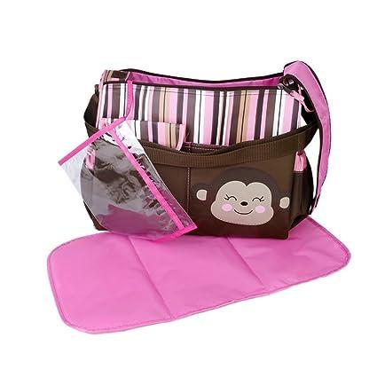 Bolso cambiador de pañales para bebés de PriMI con almohadilla rosada para
