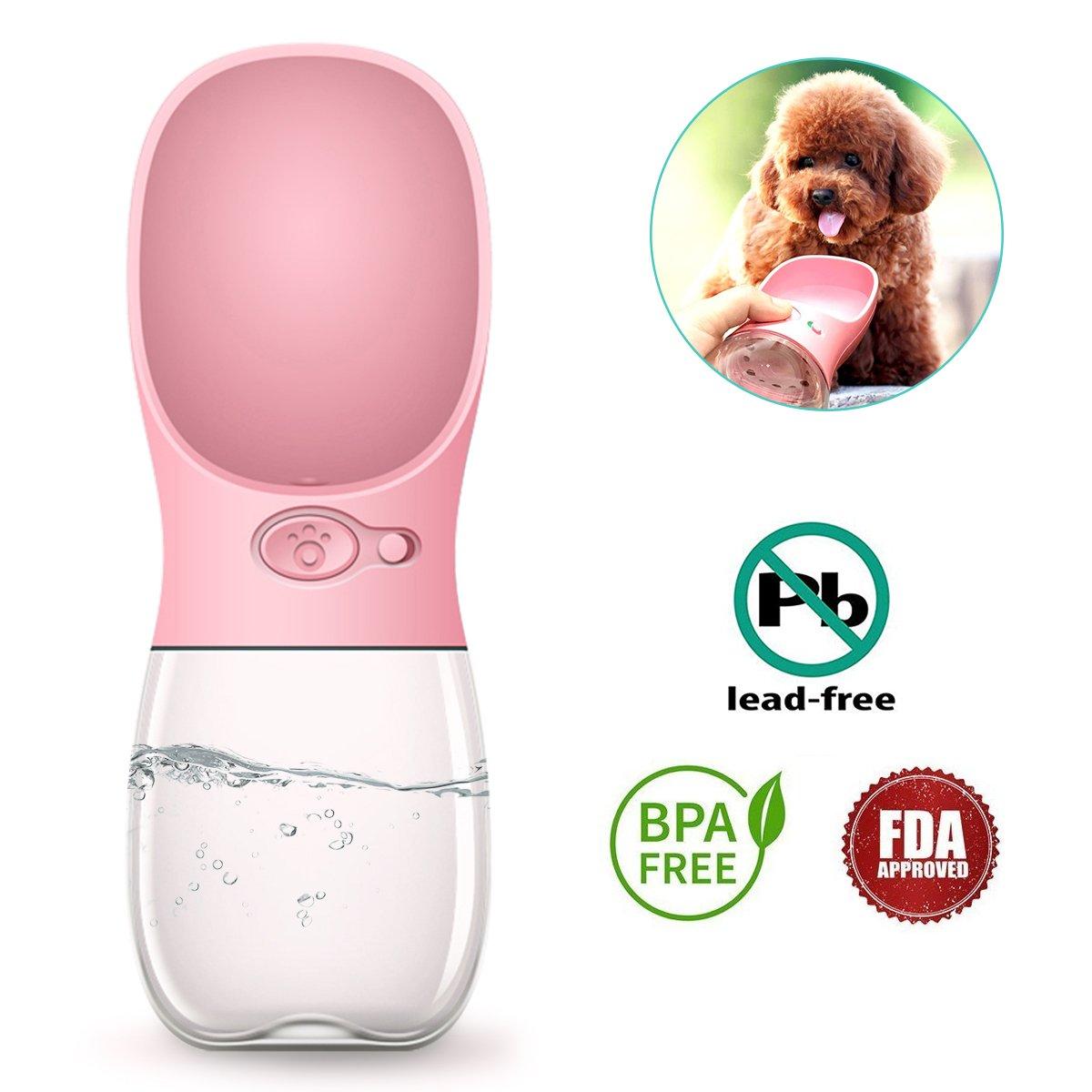 Tabpole Dog Water Bottle, Portable Pet Cat Dog Water Dispenser Antibacterial Food Grade Leak Proof Water Bowl Outdoor Travel Drinking Cup - BPA Free, 350ml Big Trough (Pink)