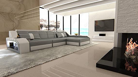 Divanova divano moderno antares angolare in similpelle grigio e