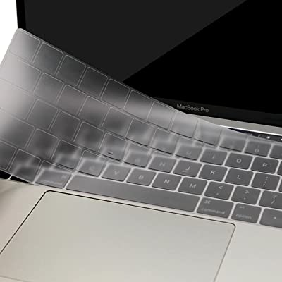 MOSISO Cubierta del Teclado para 2017/2016 MacBook Pro 13 y 15 con Touch Bar A1706/A1707 Ultra Uelgado Protectora con Teclas de Función (EU Layout sin Alfabeto Impreso), Claro