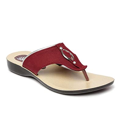 7ff6cf45b PARAGON SOLEA Women s Maroon Flip-Flops  Buy Online at Low Prices in ...