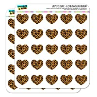 Leopard Print Orange and Black Heart Shaped Planner Calendar Scrapbook Craft Stickers