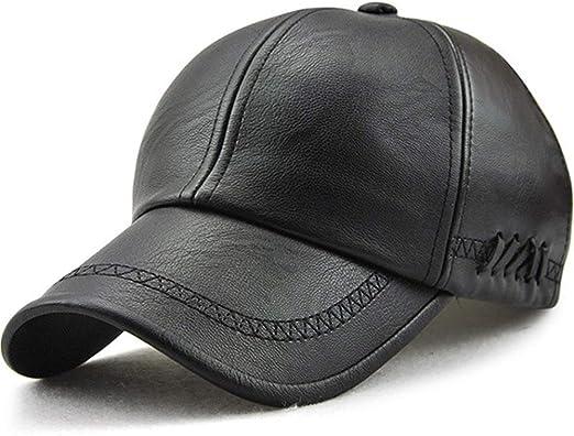 Fashion Winter Black Sheepskin Leather Sport Hat For Men Baseball Cap Adjustable