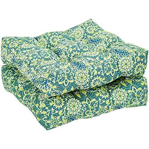 AmazonBasics Round Seat Patio Cushion, Set of 2 - Blue Floral