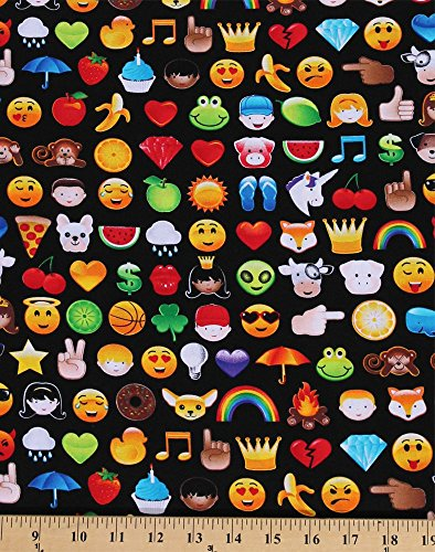 Cotton Emoji Smiley Faces Hearts Monkey Monkeys Fruit Animals on Black Cotton Fabric Print by the Yard (FUN-C4719) (Fabric Face Smiley)